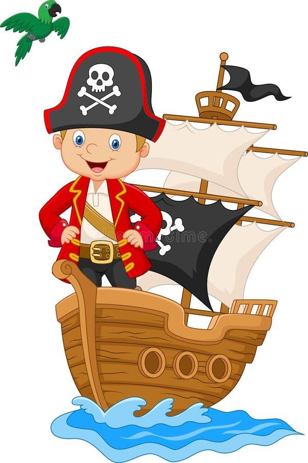 Kleiner Pirat der Karikatur auf seinem Schiff stock abbildung
