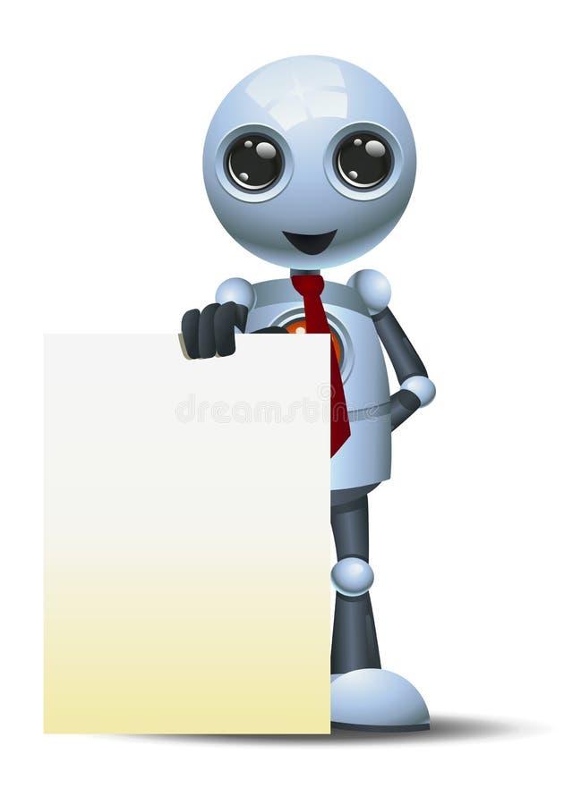 Kleiner Robotergeschäftsmann, der leeres Brett darstellt lizenzfreie abbildung
