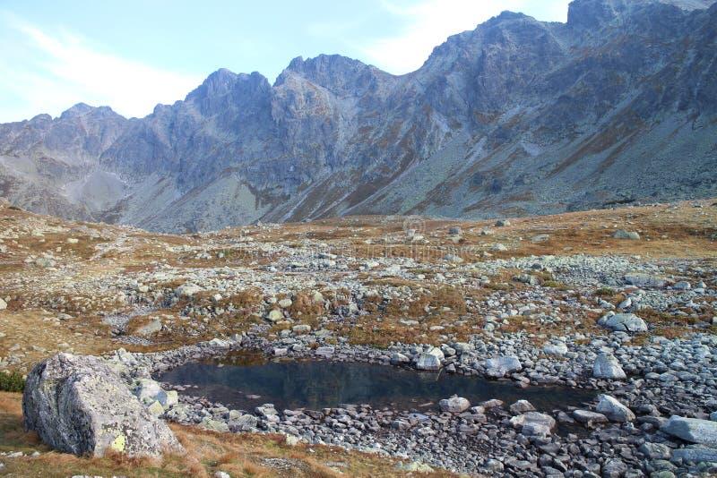 Kleiner See nahe VeÄ-¾ ké Hincovo-pleso See unter KÃ'provskÃ-½ Å ¡ tÃt Spitze in Mengusovska-dolina Tal, hohes Tatras stockbild