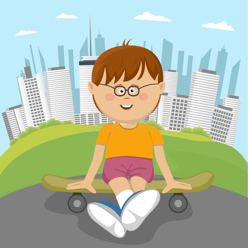 Kleiner Sonderlingsjunge, der auf einem Skateboard im Park vor Stadtzentrum sitzt vektor abbildung