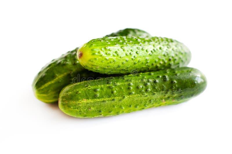 Kleiner Stapel von frischen Gurken auf einem weißen Hintergrund, grünes umweltfreundliches selbst gemachtes Gurkenisolat stockfoto