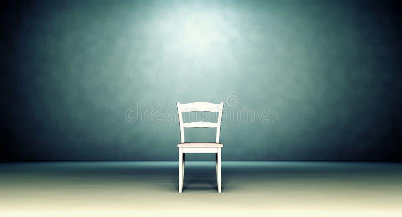 Kleiner Stuhl im leeren Raum lizenzfreie abbildung