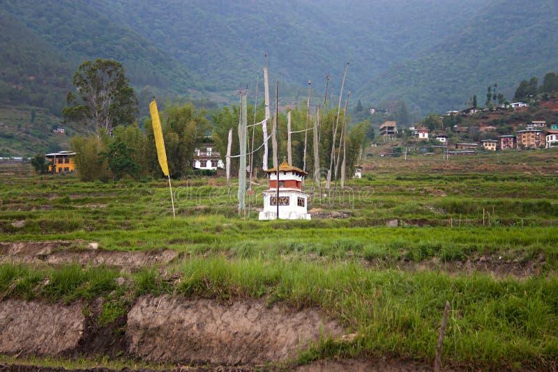 Kleiner Tempel in den Reisfeldern lizenzfreie stockbilder