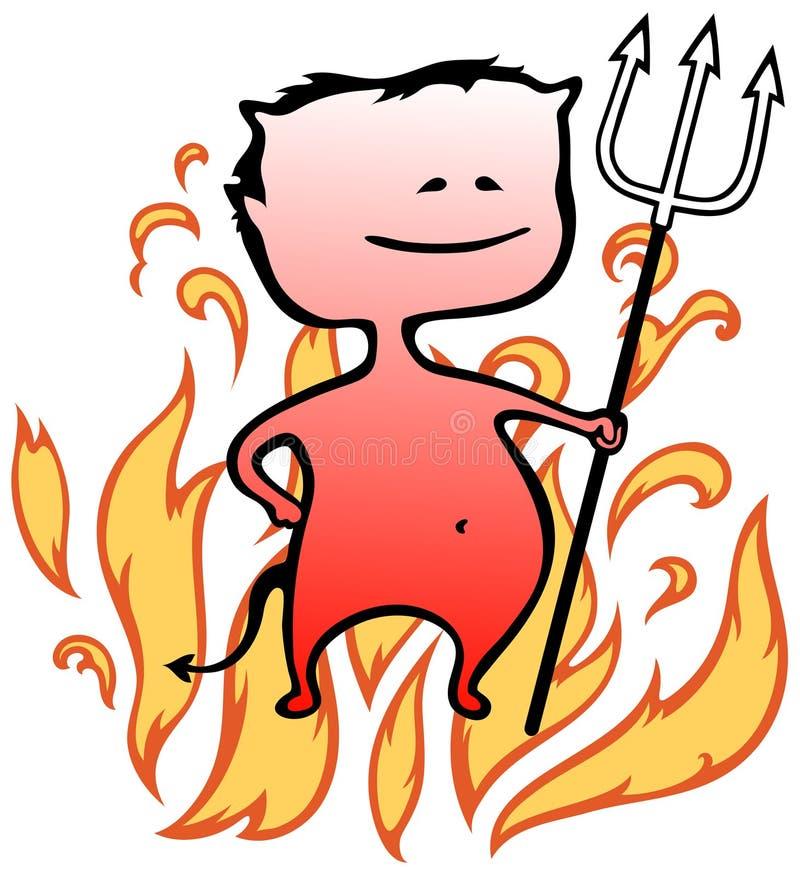 Kleiner Teufel mit Flammen im Hintergrund - Halloween vektor abbildung