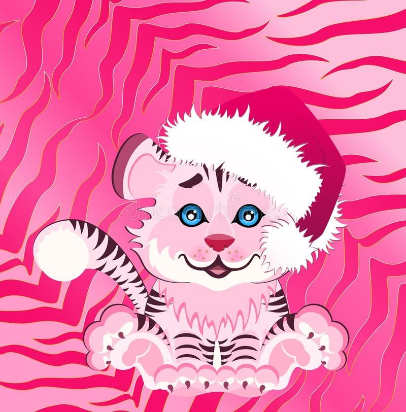 kleiner Tiger in einer roten Schutzkappe stock abbildung