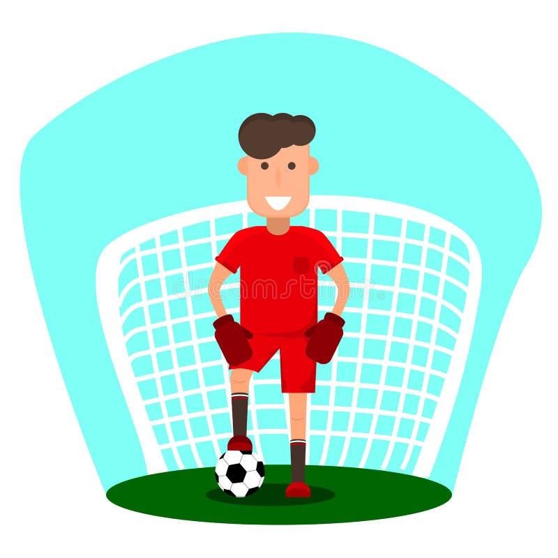 Kleiner Torhüter Ein junger Mann wird Fußball spielen Kind mit einem Fußball vor Ziel Flache Art lizenzfreie abbildung