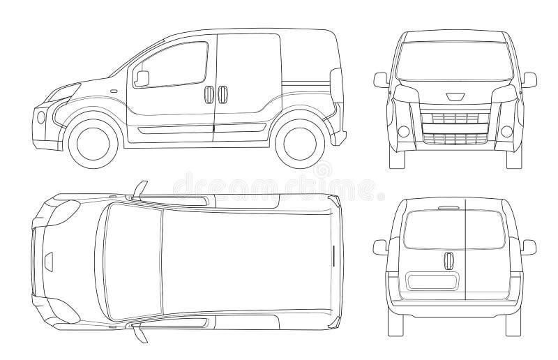 Kleiner Van Car in den Linien Lokalisiertes Auto, Schablone für Autobranding und Werbung Vorder, hinter, Seiten-, Spitzen- und hi lizenzfreie abbildung