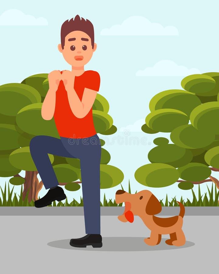 Kleiner verärgerter Hund, der am Mann bellt Junger Kerl in der Stresssituation Grüne Parkbäume und blauer Himmel auf Hintergrund  lizenzfreie abbildung