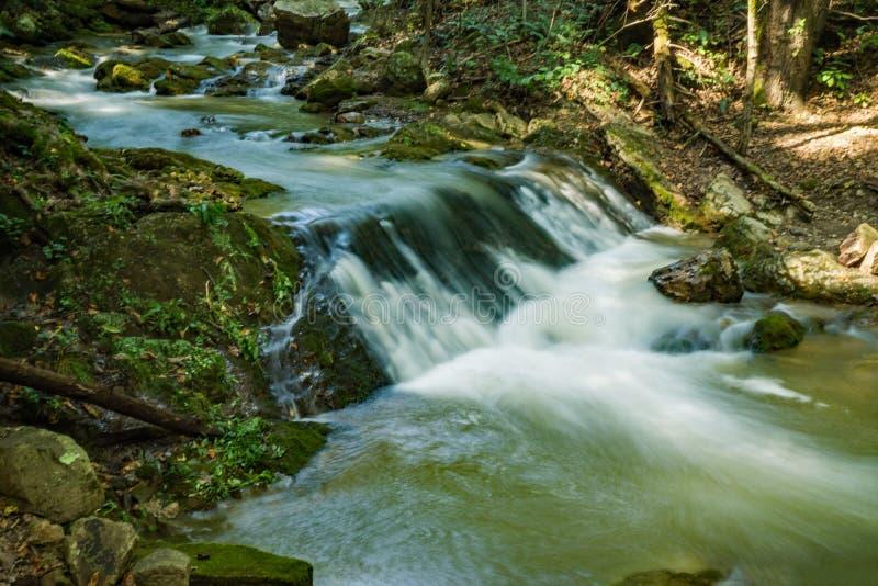Kleiner Wasserfall auf einem wilden Saiblings-Strom stockbilder
