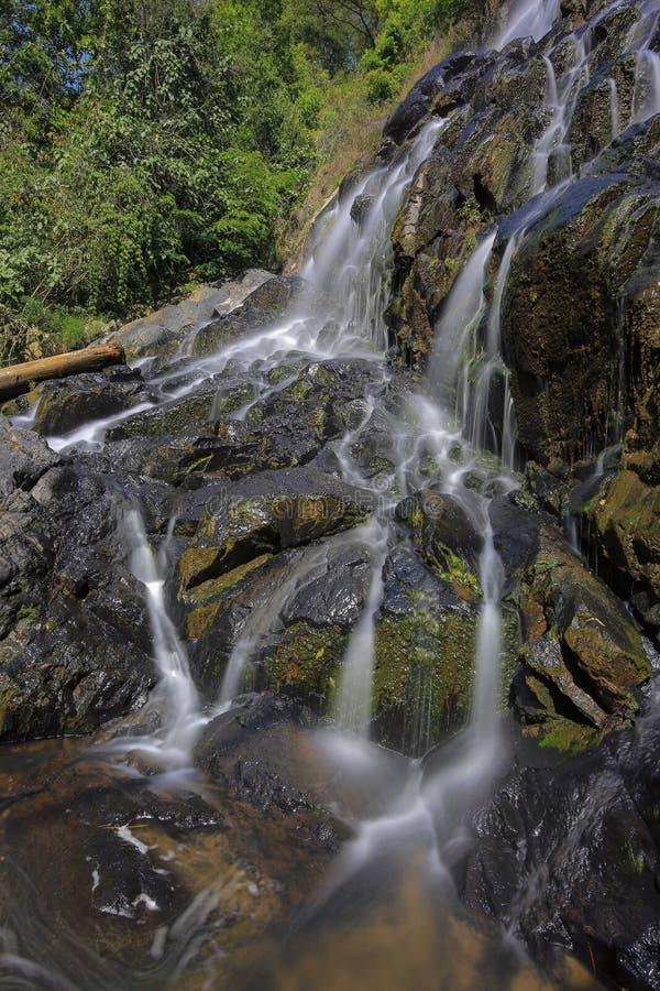 Kleiner Wasserfall in den Wald mit Magie von Licht und von langem Belichtungsteil 4 lizenzfreie stockbilder