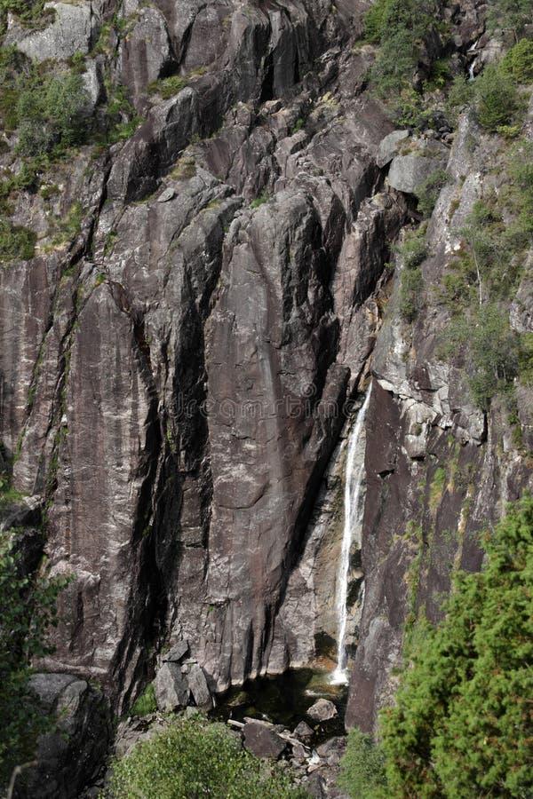 Kleiner Wasserfall im norwegischen Berg stockbilder