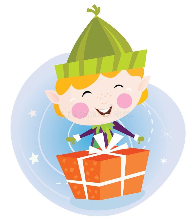 Kleiner Weihnachtself mit Geschenk stock abbildung