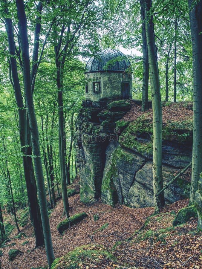 Kleiner Winterberg gazebo på en stenig kulle som döljas i bokträdskog royaltyfria bilder