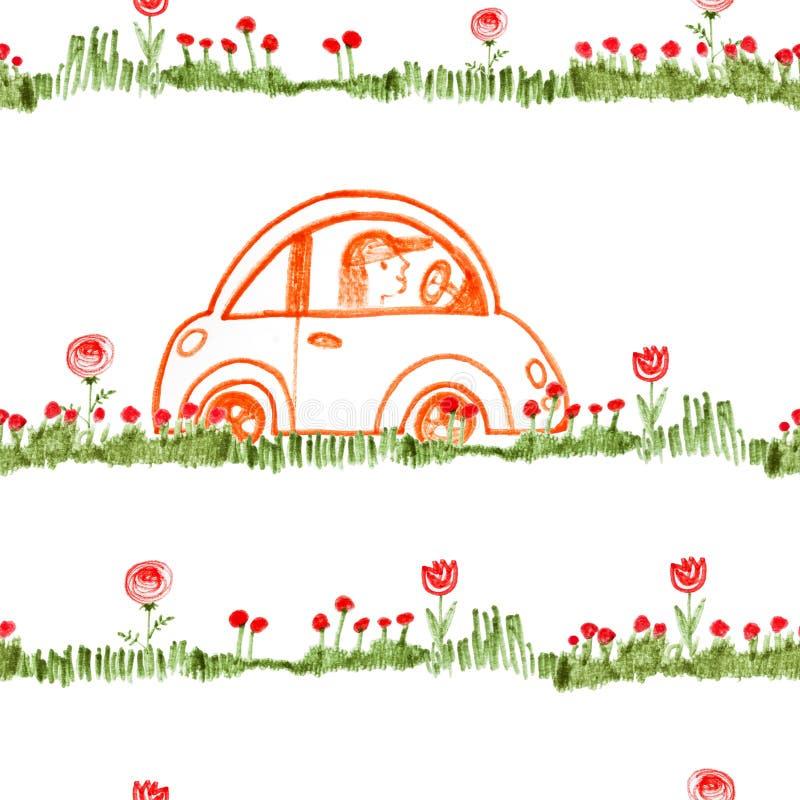 Kleines Auto mit Hippiefahrer Nahtloses Muster für Bettstoff, Kinderplaid oder Decke Tinte, Federzeichnung Hand gezeichnetes Must vektor abbildung