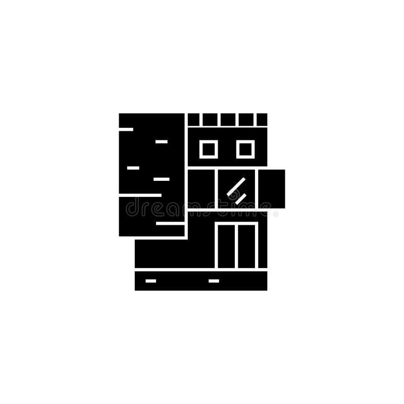 Kleines Bürogebäudeschwarz-Ikonenkonzept Kleines Bürogebäudevektorzeichen, Symbol, Illustration stock abbildung
