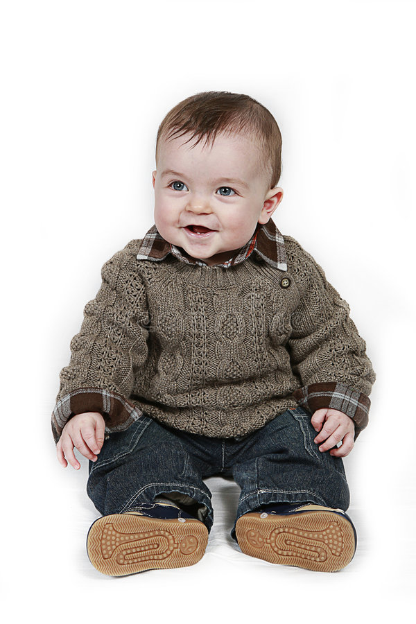 Kleines Baby auf weißer genommener Nahaufnahme lizenzfreie stockbilder