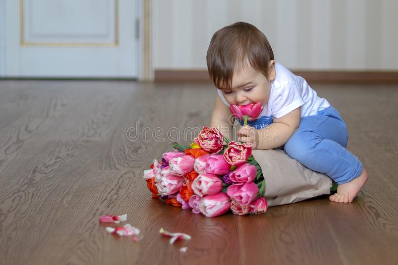 Kleines Baby, das auf dem Bündel von rosa Tulpen sitzt und eine Blume riecht stockfoto