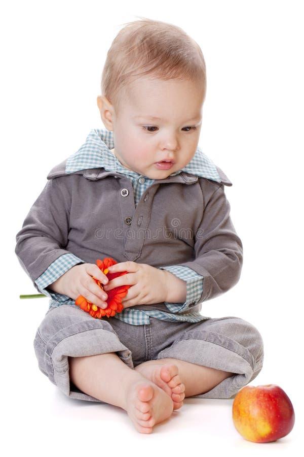 Kleines Baby, das auf rotem Apfel schaut stockbild