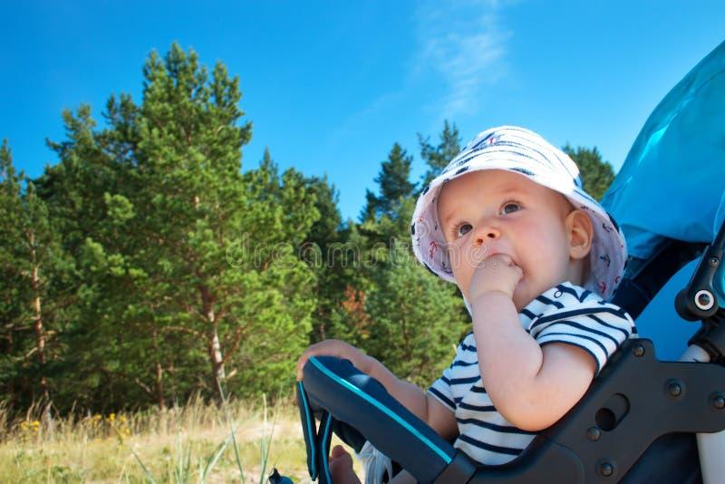 Kleines Baby, das im Spaziergänger am Sommertag sitzt stockbilder
