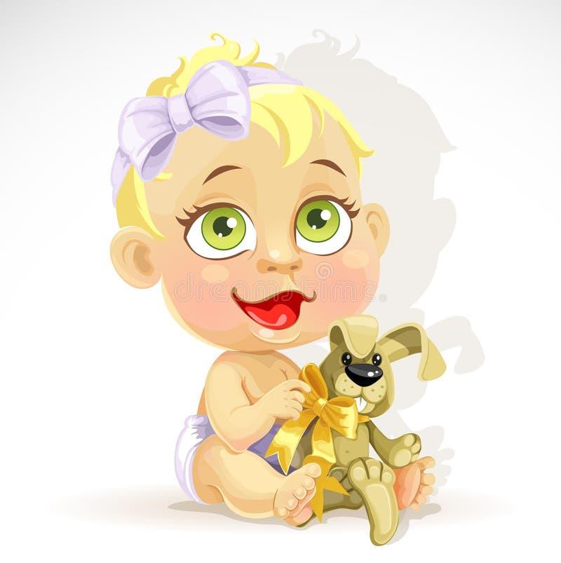 Kleines Baby in einer Windel mit einem Plüschkaninchen stock abbildung