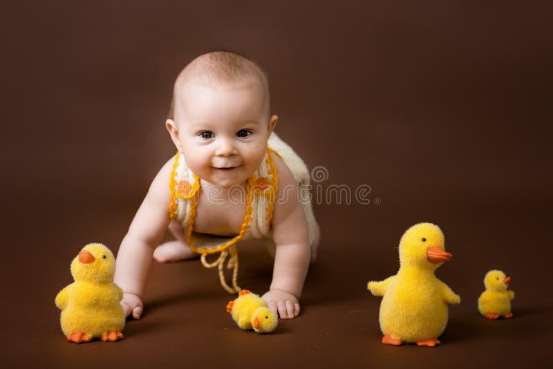 Kleines Baby, spielend mit den dekorativen Enten, lokalisiert auf Braue lizenzfreies stockbild
