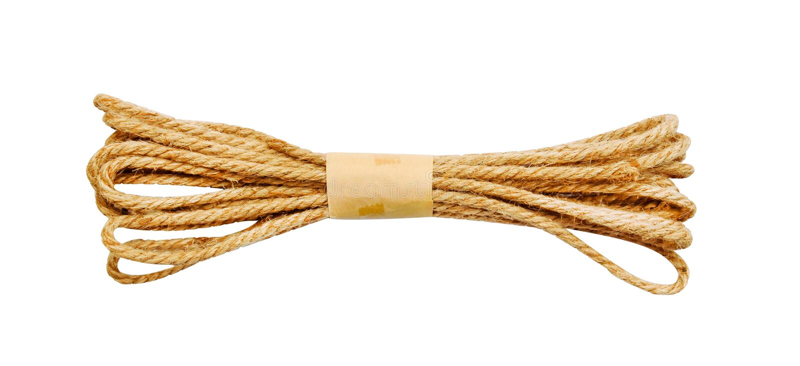 Kleines braunes Seil lokalisiert auf weißem Hintergrund mit Beschneidungspfad stockfotografie