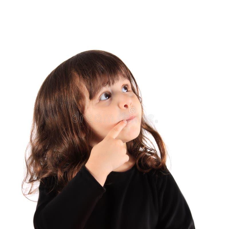 Kleines denkendes Mädchen lizenzfreie stockfotografie