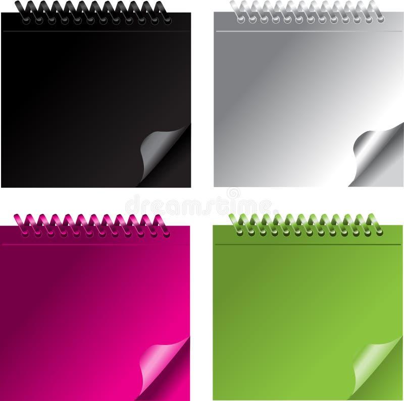 Kleines Farbennotizbuch. Schwarz, weiß, grün, Rosa vektor abbildung