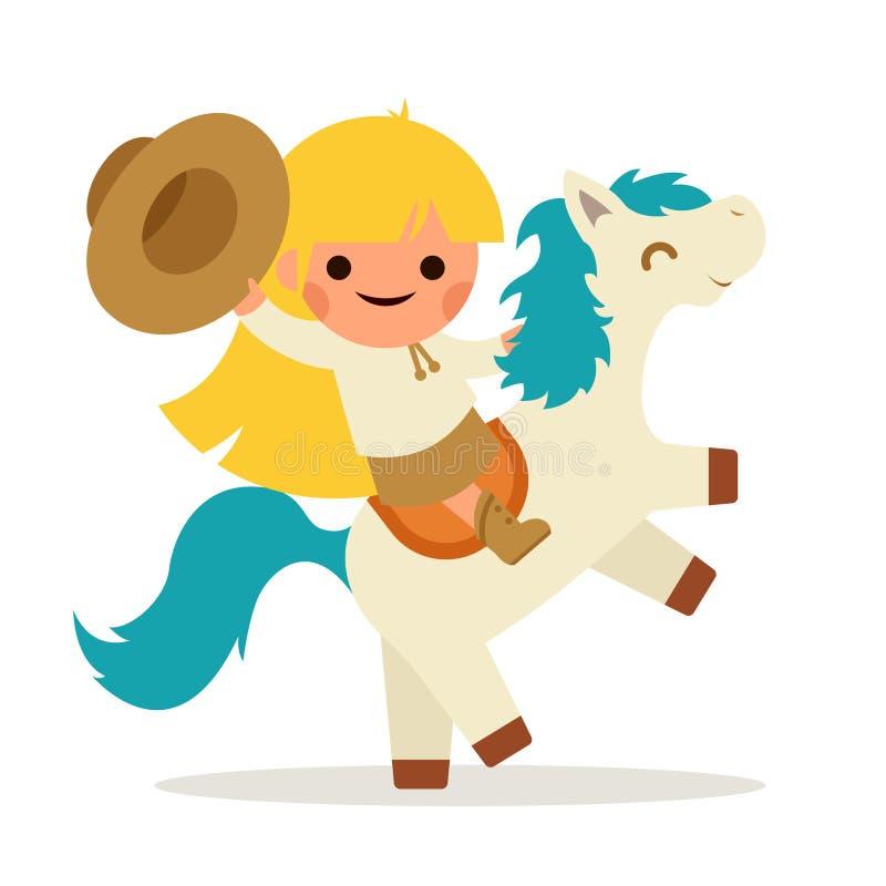 Kleines glückliches Mädchen-Fahr-Pferde-Pony Cowboy Cowgirl Waving Hat-Symbol-lächelndes Kinderikonen-Konzept-flaches Design stock abbildung