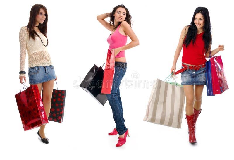 Kleines Gruppeneinkaufenmädchen lizenzfreies stockbild