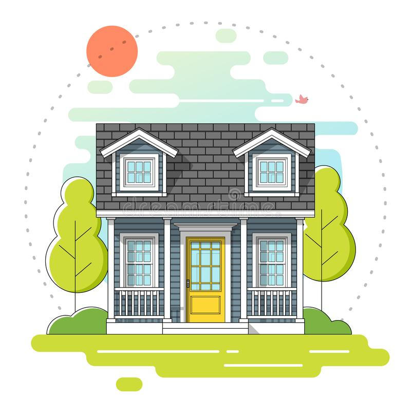 Kleines Haus und schöner ländlicher Landschaftstagesszenenhintergrund in der flachen Linie Kunstart lizenzfreie abbildung