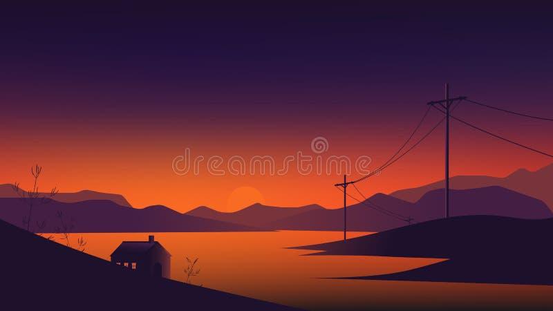 Kleines Haus zwischen See und Bergen gestalten, Dämmerungszeit landschaftlich stock abbildung