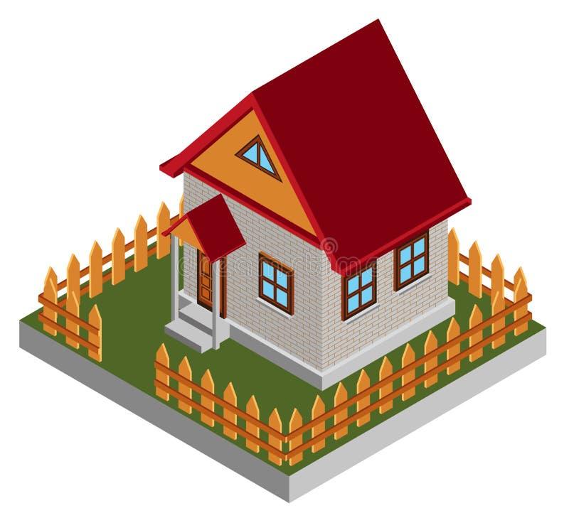 Kleines isometrisches Haus stock abbildung