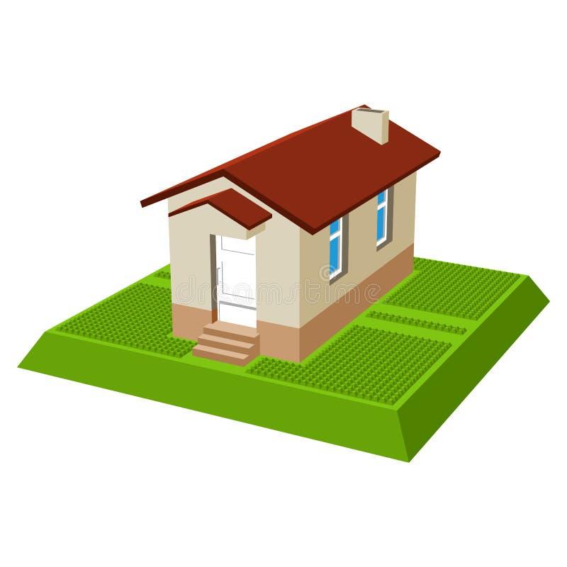 Kleines isometrisches Haus lizenzfreie abbildung