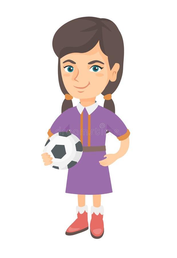 Kleines kaukasisches Mädchen, das einen Fußballball hält lizenzfreie abbildung