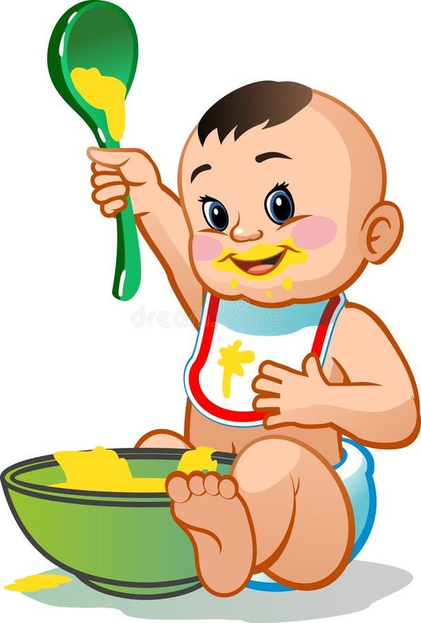 Kleines Kind, das Brei isst vektor abbildung