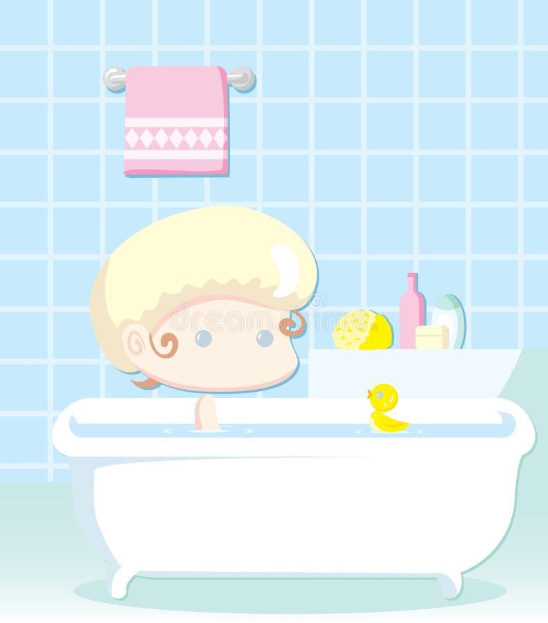 Kleines Kind, das ein Bad hat stock abbildung