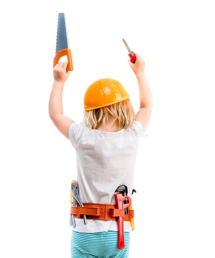 Kleines Kind mit Sturzhelm von der Rückseite lizenzfreie stockbilder