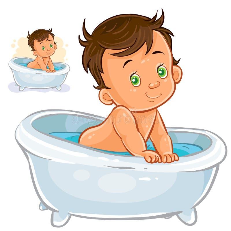 Kleines Kind nehmen ein Bad vektor abbildung