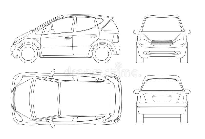 Kleines Kompaktes Elektro-Mobil Oder Hybrides Auto Auf Entwurf ...