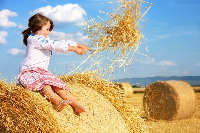 Kleines ländliches Mädchen auf Erntefeld lizenzfreie stockfotografie