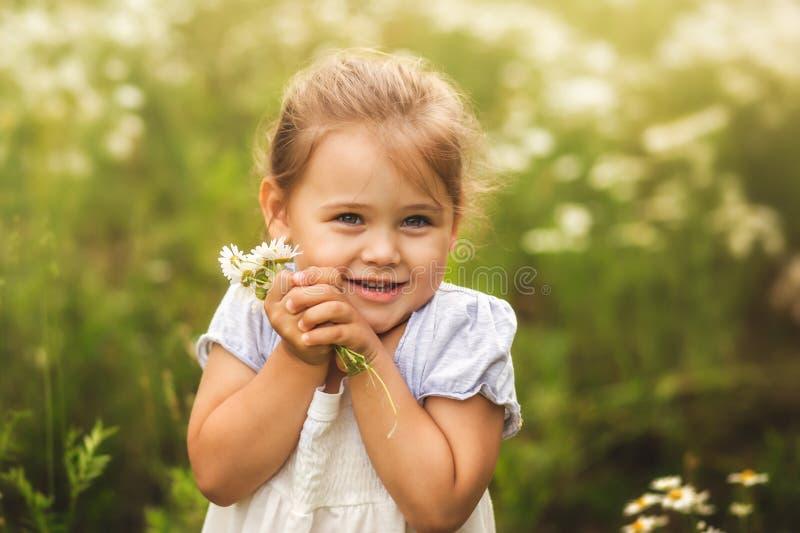 Kleines Mädchen auf der Wiese mit einem Blumenstrauß der Kamille stockfotografie