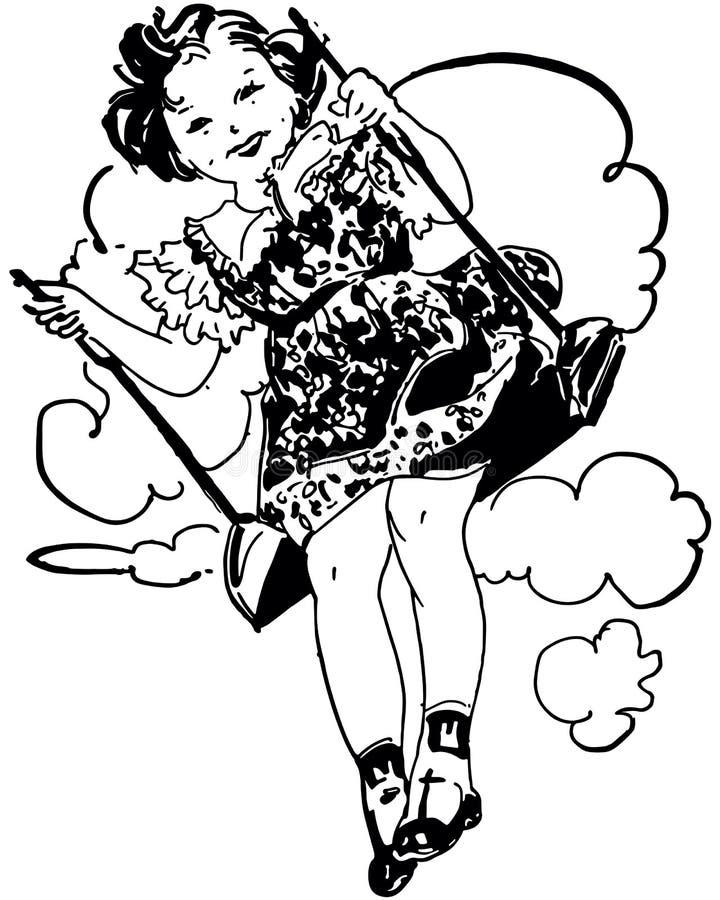 Kleines Mädchen auf Schwingen stock abbildung