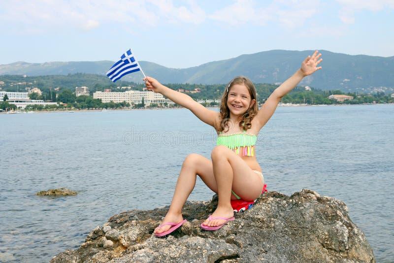 Kleines Mädchen auf Sommerferien Korfu-Insel Griechenland stockbilder