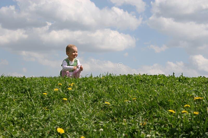 Kleines Mädchen auf Wiese lizenzfreie stockbilder