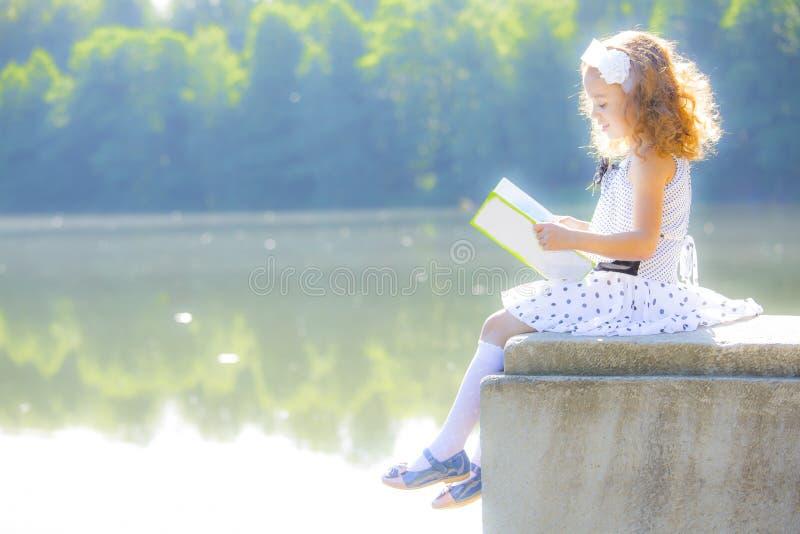 Kleines Mädchen, das ein Buch liest lizenzfreie stockbilder