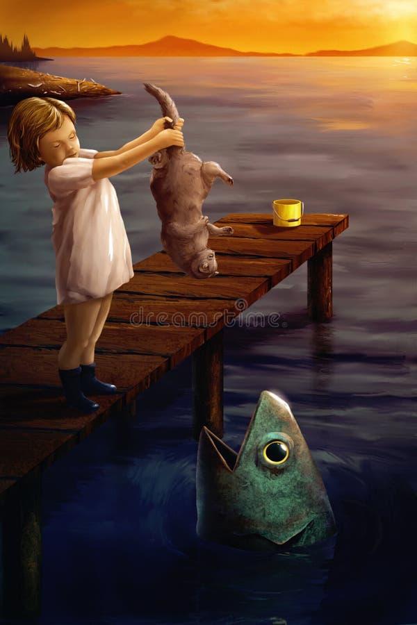 Kleines Mädchen, das einem Fisch - surreale digitale Kunst eine Katze speist stock abbildung