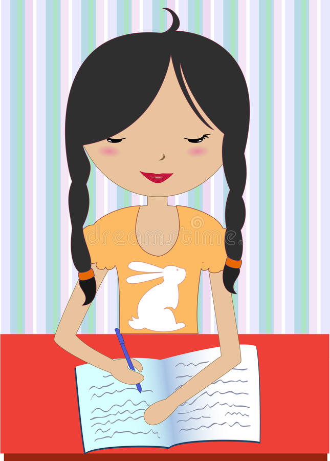Kleines Mädchen, das an einem Schreibtisch und an einem Schreiben sitzt stock abbildung