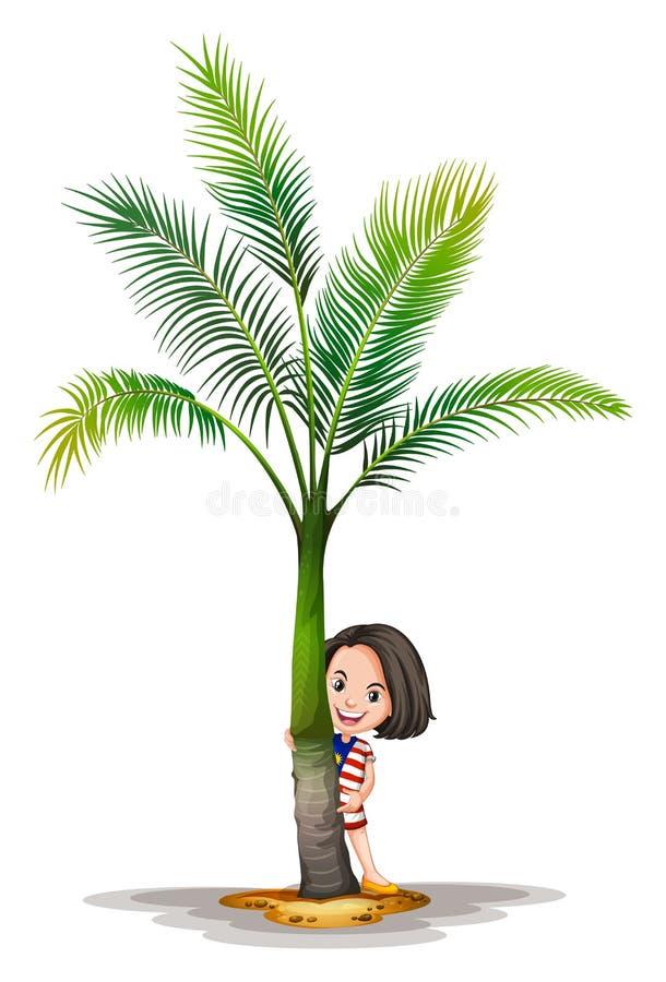 Kleines Mädchen, das hinter Palme steht lizenzfreie abbildung