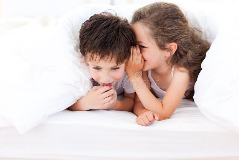 Kleines Mädchen, das ihrem Bruder ein Geheimnis erklärt stockfotografie